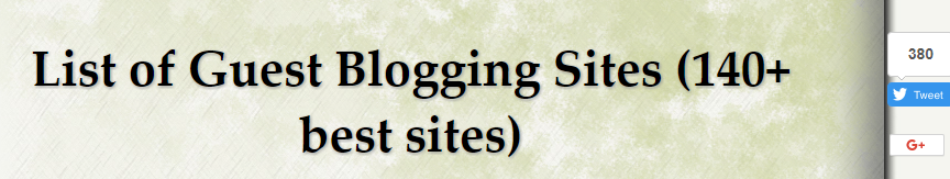 guest blogging list of sites